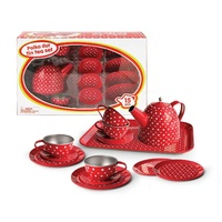 Kaper Kidz - Red Polka Dot Tin Tea Set 15pc