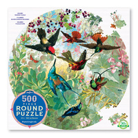 eeBoo - Hummingbirds Round Puzzle 500pc