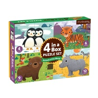 Mudpuppy - 4 in a Box Puzzle Set - Animals