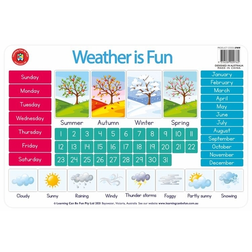 Learning Can Be Fun - Weather Chart Placemat