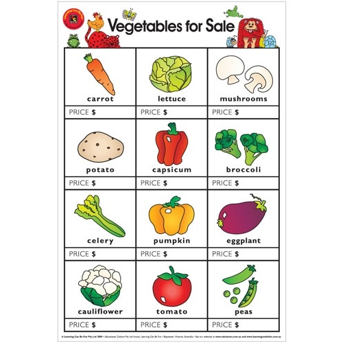 Learning Can Be Fun - Vegetables For Sale Poster